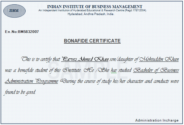Iibm indian institute of business management sample bonafied certificate yadclub Images