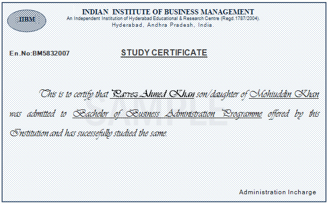 Iibm indian institute of business management sample study certificate yadclub Images